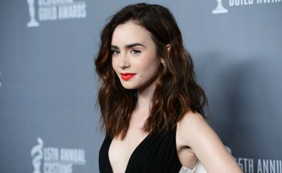 Beautiful, Lily Collins, red lipstick, celebrity