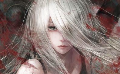 YoRHa Type A No.2, white hair, warrior, NIER, face