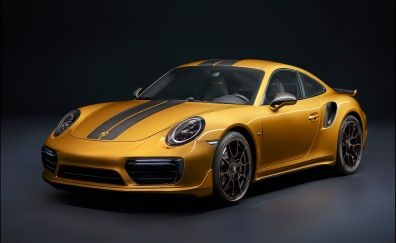 Porsche 911 Turbo, Golden, sports car