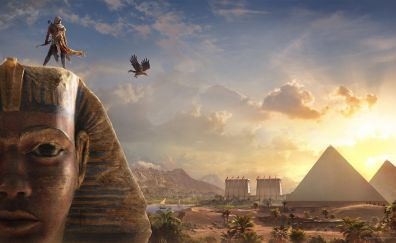 Bayek sphinx, assassin's creed origins, video game, pyramids