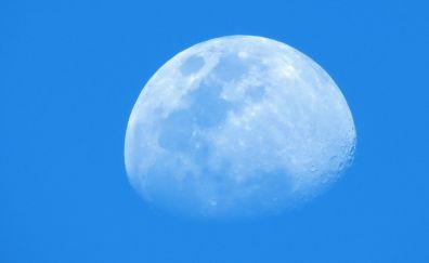 Blue sky, space, moon, surface