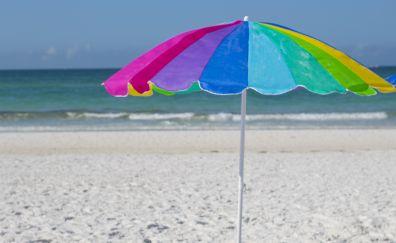 Beach, vacation, holiday, umbrella, colorful