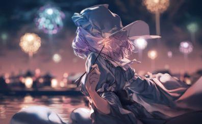 Yuyuko Saigyouji, Touhou, enjoying fireworks, anime girl