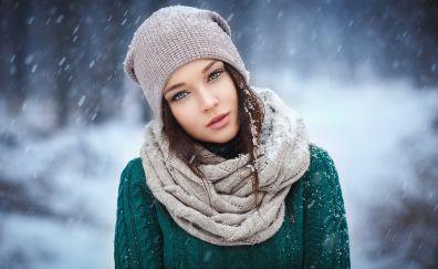 Angelina Petrova, scarf, girl model, winter, snowfall