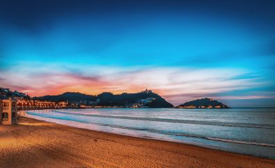 Donostia, San Sebastián, beach, night, skyline, city