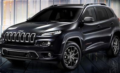 Black car, 2018 Jeep Cherokee, compact SUV