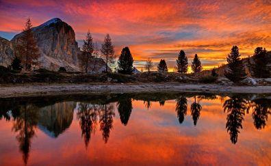 Sunset, lake, dolomites, mountains, nature, reflections