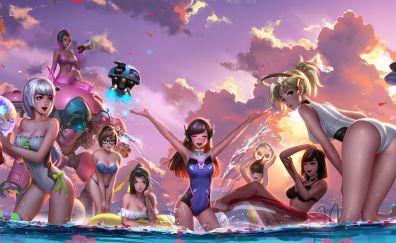 Overwatch, mercy, mei, d.va, etc., girls fun
