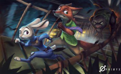 Judy hopps, Nick Wild, Zootopia, animation movie, run, art
