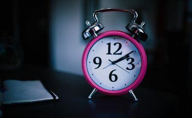 Pink, alarm clock, digits, clock