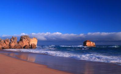 Beach, sea waves, skyline, sea, cliffs