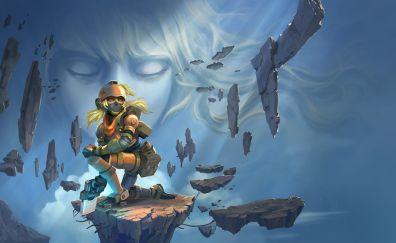 Super Cloudbuilt, video game, rocks, girl warrior