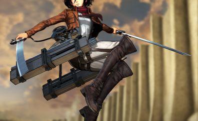 Jump, anime girl, Mikasa Ackerman, attack on titan, 4k