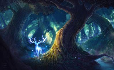 Deer, fantasy, forest, tree, night
