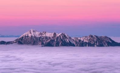 Sunset, pink skyline, clouds, mountains, cliff