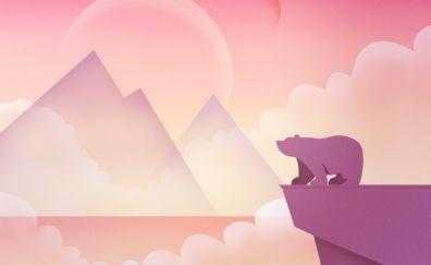 Minimal, art, bear, moon, mountains