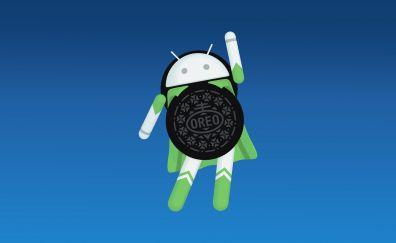 Android Oreo, logo, 4k