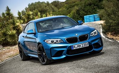 BMW M2, blue luxury car, front view