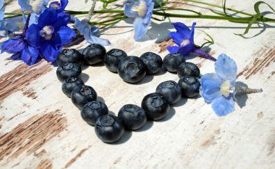 Blueberries, flowers, heart shape