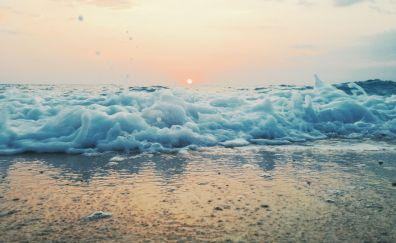 Foam, sea waves, close up, sunset