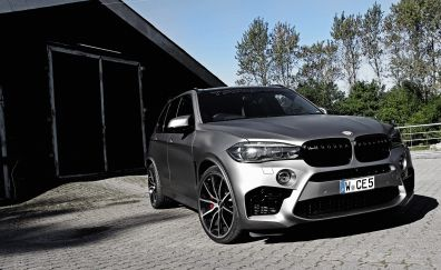 Silver luxury car, BMW X5, SUV