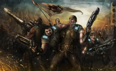 Gears of War, video game, soldiers