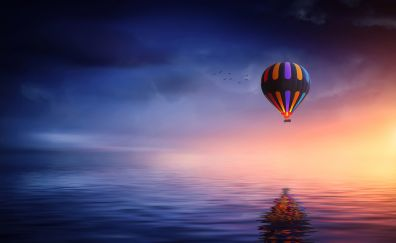 Hot air balloon, ride, sunset, reflections