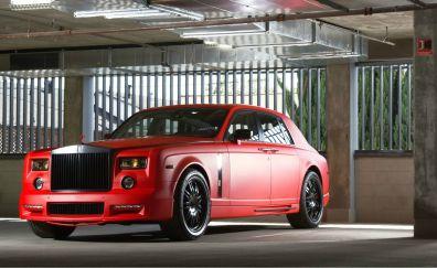 Red rolls-royce phantom, car, front