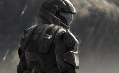 Halo 3: ODST, video game, solider, rain, art