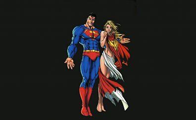 Super man and super girl minimalism, artwork