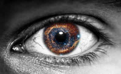 Galaxy, inside eye, close up