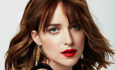 Dakota Johnson, model, face, red lips, makeup