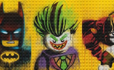 The lego batman, harley quinn and joker