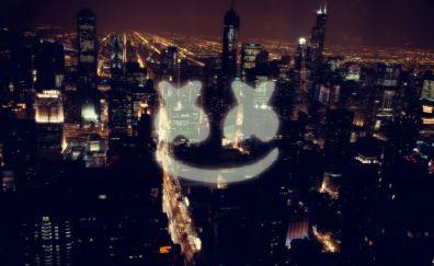 Marshmello, logo, city, fan art
