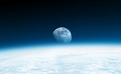 Moon, planet, space, blue horizon
