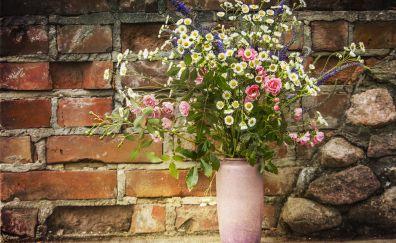 Bouquet, flowers, plants, big pot