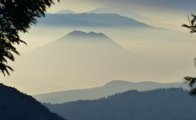 Indonesia, volcano, mountains, sunrise, horizon