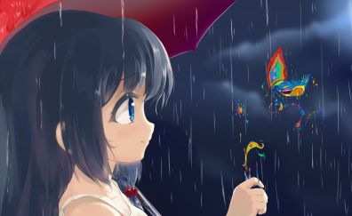 Rain, anime girl, original, butterfly