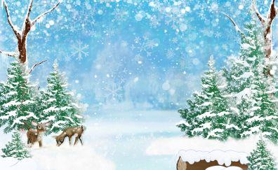 Winter, deer, Christmas, digital art, 2017, 4k