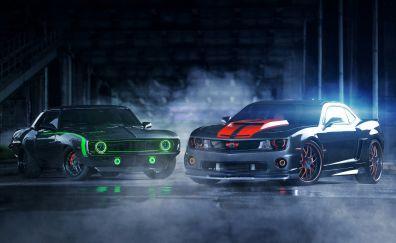 Chevrolet Camaro, low rider, smoke, 5k