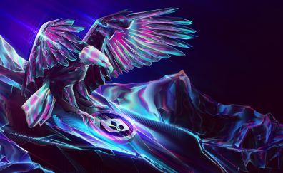 Fantasy artwork of falcon bird