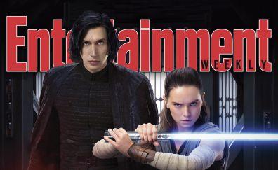 Rey, kylo ren, star wars: the last jedi, entertainment weekly, magazine