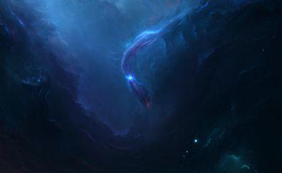Blue nebula, space, dark, clouds, 5k