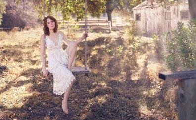 Beautiful, emma stone in white dress, lawn, 5k