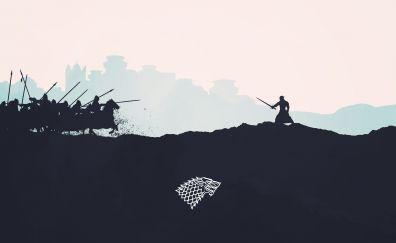 Game of thrones, tv series, art, Jon Snow, fight