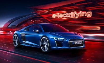 Audi R8 e-tron, electrifying, blue car