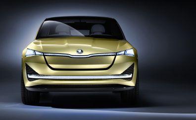 Skoda Vision E Concept, 2017, Frankfurt motor show, front view, 4k