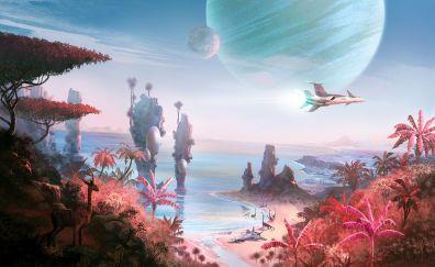 No Man's Sky, video game, spaceship, beach