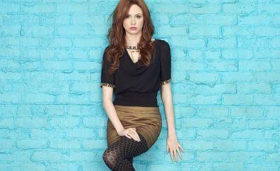 Karen Gillan, leaning to wall, photoshoot