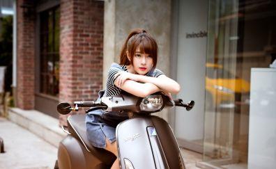 Vespa, urban girl, model, asian model